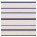 [ Thumbnail: Midnight Blue and Beige Striped/Lined Pattern Fabric ]