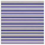 [ Thumbnail: Midnight Blue and Beige Striped Pattern Fabric ]