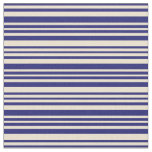 [ Thumbnail: Midnight Blue and Beige Stripes/Lines Pattern Fabric ]