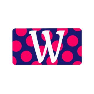 Midnight Blue and Bright Pink Dot Monogram Address Label