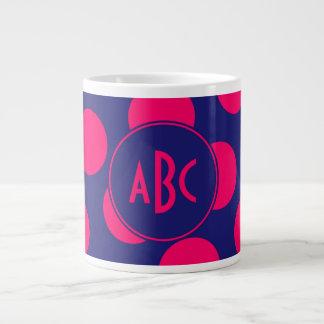 Midnight Blue and Bright Pink Dot Monogram 20 Oz Large Ceramic Coffee Mug