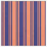 [ Thumbnail: Midnight Blue and Coral Striped Pattern Fabric ]