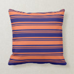 [ Thumbnail: Midnight Blue and Coral Striped Pattern Pillow ]