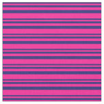 [ Thumbnail: Midnight Blue and Deep Pink Lines/Stripes Pattern Fabric ]