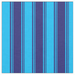[ Thumbnail: Midnight Blue and Deep Sky Blue Colored Stripes Fabric ]
