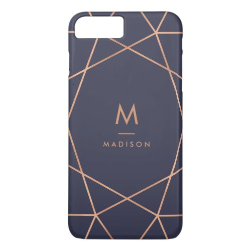 Midnight Blue and Faux Rose Gold Geometric Pattern Phone Case