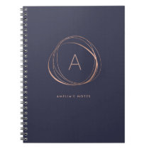 Midnight Blue and Faux Rose Gold Monogram Notebook