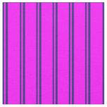 [ Thumbnail: Midnight Blue and Fuchsia Stripes Pattern Fabric ]