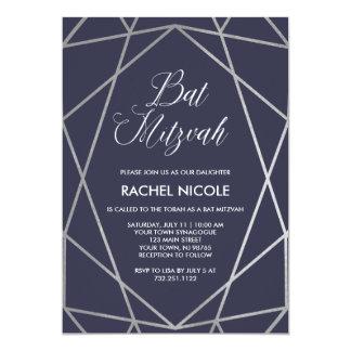 Midnight Blue and Geometric Lines | Bat Mitzvah Card