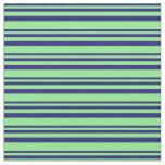 [ Thumbnail: Midnight Blue and Light Green Pattern Fabric ]