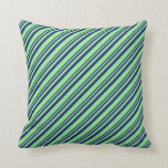 [ Thumbnail: Midnight Blue and Light Green Pattern Throw Pillow ]