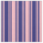 [ Thumbnail: Midnight Blue and Light Pink Colored Pattern Fabric ]