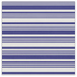 [ Thumbnail: Midnight Blue and Mint Cream Colored Lines Fabric ]