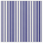 [ Thumbnail: Midnight Blue and Mint Cream Colored Stripes Fabric ]