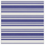 [ Thumbnail: Midnight Blue and Mint Cream Lines Pattern Fabric ]