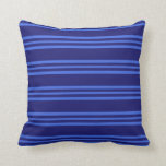 [ Thumbnail: Midnight Blue and Royal Blue Lines Throw Pillow ]