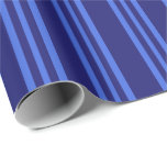 [ Thumbnail: Midnight Blue and Royal Blue Lines Wrapping Paper ]