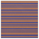 [ Thumbnail: Midnight Blue and Sienna Lines Pattern Fabric ]