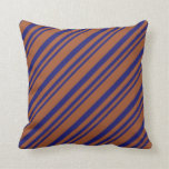 [ Thumbnail: Midnight Blue and Sienna Lines Pattern Pillow ]