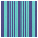 [ Thumbnail: Midnight Blue and Turquoise Lined/Striped Pattern Fabric ]