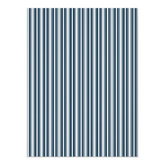 Midnight Blue and White Christmas Stripes Invitation Cards