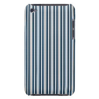 Midnight Blue and White Christmas Stripes iPod Case-Mate Case