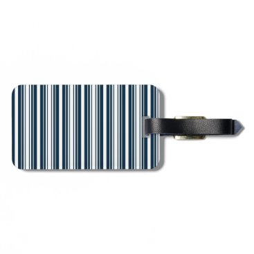 Disney Themed Midnight Blue and White Christmas Stripes Luggage Tag
