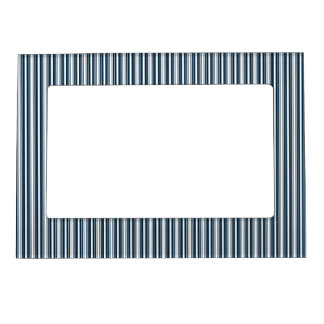 Midnight Blue and White Christmas Stripes Photo Frame Magnet