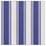 [ Thumbnail: Midnight Blue and White Colored Lined Pattern Fabric ]