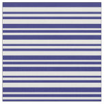 [ Thumbnail: Midnight Blue and White Colored Lines Pattern Fabric ]