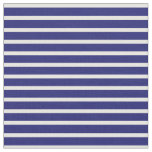 [ Thumbnail: Midnight Blue and White Colored Stripes Fabric ]