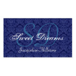 Midnight Blue and White Damask Custom Monogram Double-Sided Standard Business Cards (Pack Of 100)