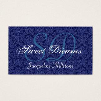 Midnight Blue and White Damask Custom Monogram Business Card