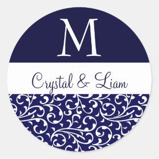 MIDNIGHT BLUE and WHITE Damask Wedding Monogram Classic Round Sticker