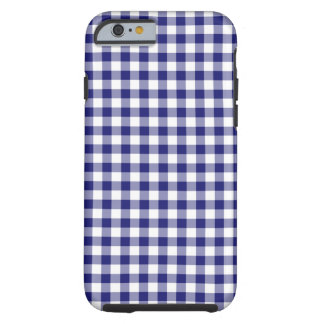 Midnight Blue and White Gingham Tough iPhone 6 Case