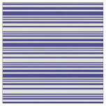 [ Thumbnail: Midnight Blue and White Lined/Striped Pattern Fabric ]