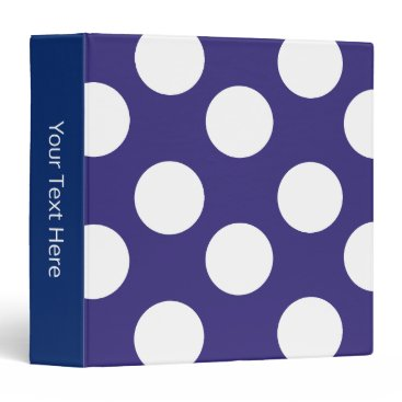 Beach Themed Midnight Blue and White Polka Dot 3-Ring Binder