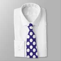Midnight Blue and White Polka Dot Tie
