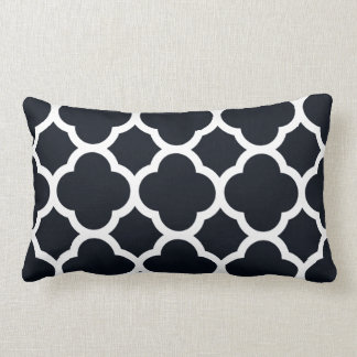 Midnight Blue and White Quatrefoil Pattern Lumbar Pillow