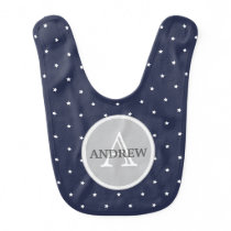 Midnight Blue and White Stars pattern Monogrammed Bib