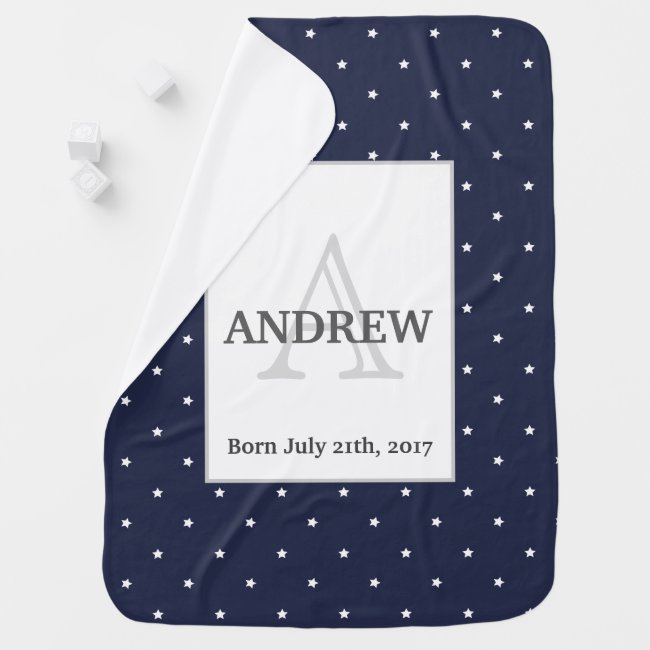 Midnight Blue and White Stars pattern Monogrammed Swaddle Blanket