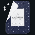 """Midnight Blue and White Stars pattern Monogrammed Swaddle Blanket<br><div class=""""desc"""">Nautical themed monogram with bright white stars on a background of midnight blue. Personalize the Big Letter and the texts to suit your needs. It makes a great baby shower gift set along with the matching bib and burp cloth. They also work well for stroller or tummy time.</div>"""