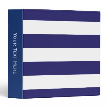 Beach Themed Midnight Blue and White Striped Binder