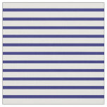 [ Thumbnail: Midnight Blue and White Stripes Fabric ]