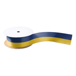 Midnight Blue and Yellow-Corn Striped Satin Ribbon