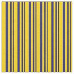 [ Thumbnail: Midnight Blue and Yellow Pattern Fabric ]