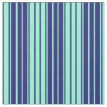 [ Thumbnail: Midnight Blue & Aquamarine Colored Stripes Fabric ]