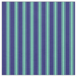 [ Thumbnail: Midnight Blue & Aquamarine Colored Stripes Fabric ]