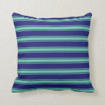 [ Thumbnail: Midnight Blue & Aquamarine Colored Stripes Pillow ]