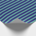 [ Thumbnail: Midnight Blue & Aquamarine Colored Stripes Wrapping Paper ]